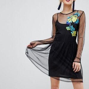 nwt ASOS mesh embroidered swiss dot dress 12